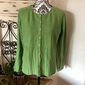 Tommy Bahama green button up cardigan